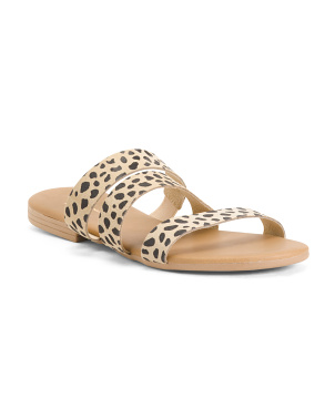 Made In Italy 3 Bands Snow Leopard Suede Sandals