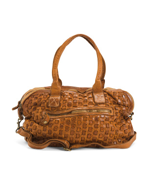 Made In Italy Triple Entry Woven Leather Satchel