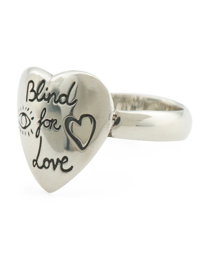 Made In Italy Sterling Silver Blind For Love Heart Ring