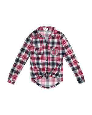 Big Girls Plaid Button Down Shirt