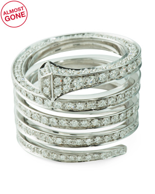 Made In Italy 18k White Gold And Diamond Chiodo Pave Ring