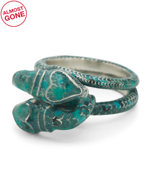 Made In Italy Sterling Silver G Garden Snake Enamel Ring