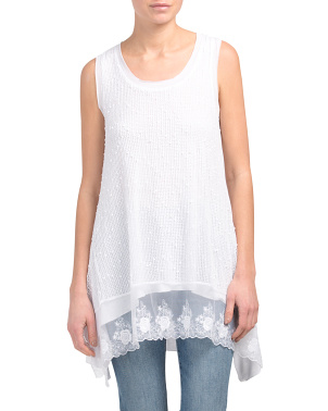 Sleeveless Crochet Tank With Lace Trim