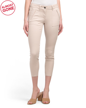 Petite Casual Twill Side Pocket Pants