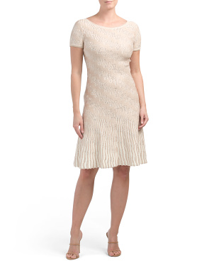 Trellis Knit Fit & Flare Dress