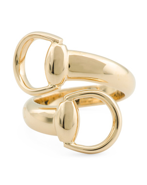 Made In Italy 18k Gold Horsebit Bypass Ring