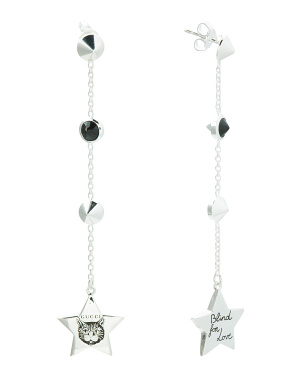 Made In Italy Sterling Silver Blind For Love Star Earrings