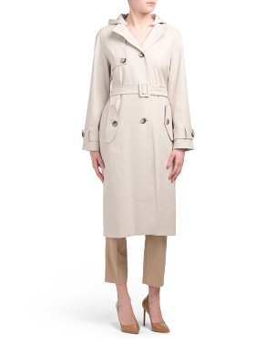Made In Italy Maxi Length Belted Trench Coat