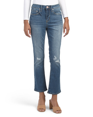 High Rise Crop Flare Jeans With Destruction