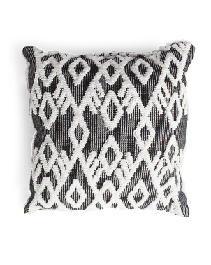18x18 Indoor Outdoor Textured Geo Pillow