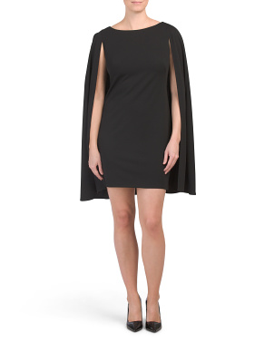 Petite Sheath Dress With Cape