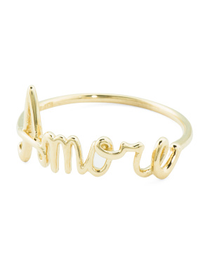 Made In Italy 14k Gold Amore Script Ring