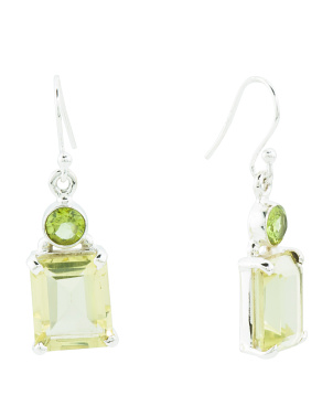 Handmade In India Sterling Silver Gemstone Drop Earrings
