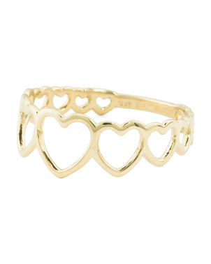 Made In Italy 14k Gold Open Heart Ring