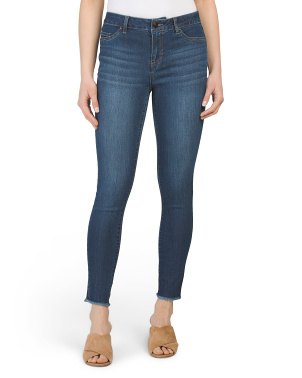 High Waist Frayed Hem Ankle Jeans
