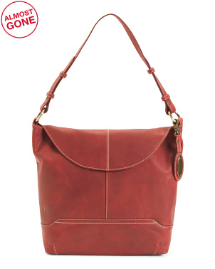 Distressed Elaina Leather Flap Hobo