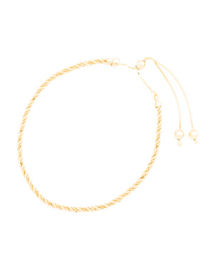 Made In Italy 14k Gold Rope Chain Slider Bracelet