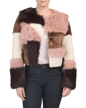 Patchwork Short Sheepskin Jacket
