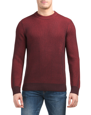 Merino Wool Ribbed Crew Neck Sweater