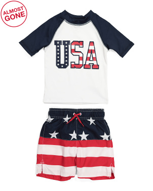 Boys Americana Rash Guard Swim Trunk Set