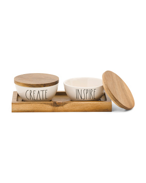 3pc Create And Inspire Bowls And Tray Set