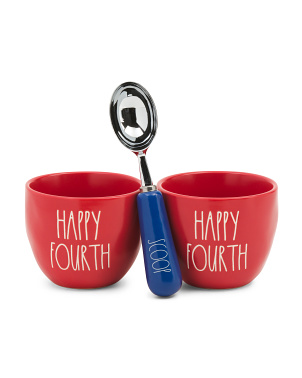 Happy Fourth Ice Cream Scoop And Bowls Set