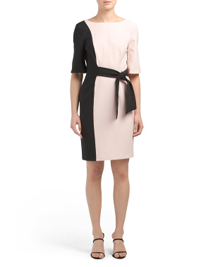 Color Block Side Tie Sheath Dress