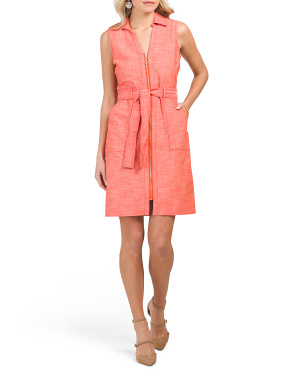 Sleeveless Zip Front Belted Shirt Dress