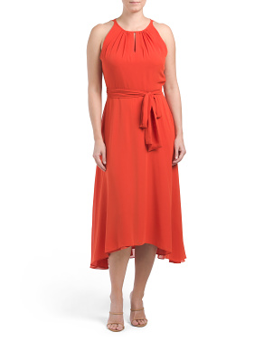 Ruched Neck Dress With Hi-lo Skirt