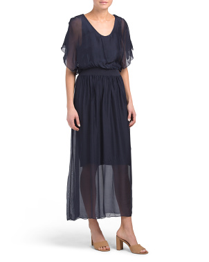 Made In Italy Blouson Silk Blend Maxi Dress