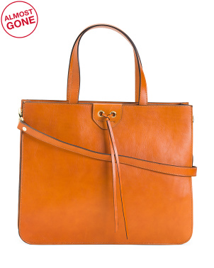 Made In Italy Double Entry Leather Working Tote