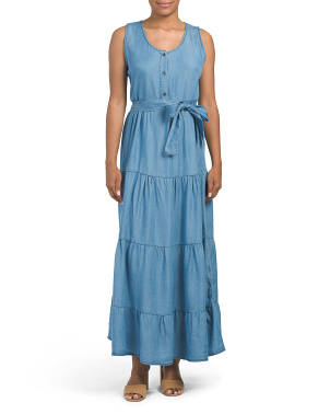 Made In Italy Tiered Tencel Maxi Dress
