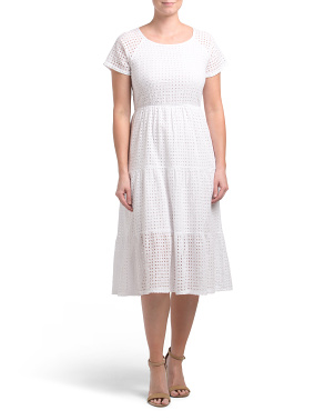 Made In Italy Eyelet Tiered Midi Dress