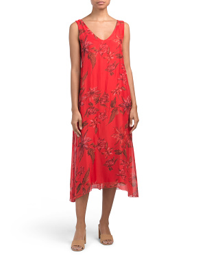 Made In Italy Floral Silk Blend Midi Dress