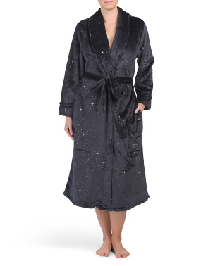 Long Star Foil Printed Shawl Collar Robe