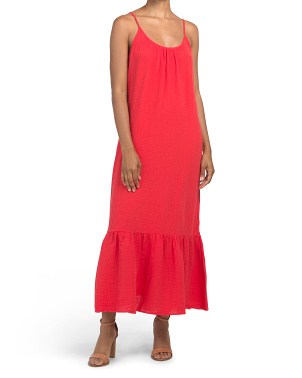 Adjustable Strap Organic Cotton Maxi Dress