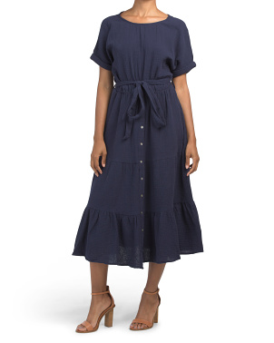 Organic Cotton Midi Dress With Belt