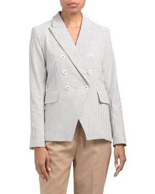Striped Classic Fit Double Breasted Blazer