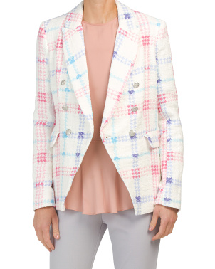 Plaid Double Breasted Classic Fit Blazer