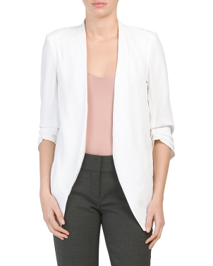 Contemporary Fit Ruched Sleeve Blazer