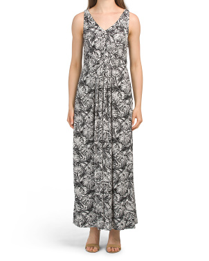 Pleated Printed Maxi Dress