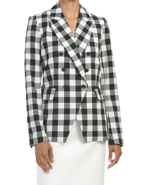 Gingham Double Breasted Classic Fit Blazer