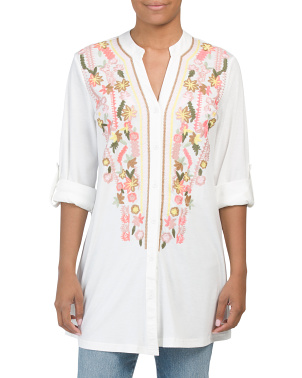 Long Sleeve Embroidered Tunic Length Top