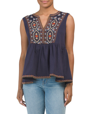 Sleeveless Peplum Embroidered Top