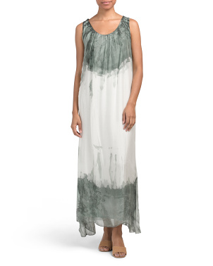 Made In Italy Tie Dye Silk Blend Maxi Dress
