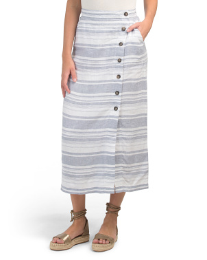 Linen Yarn Dyed Striped Pull On Button Front Skirt