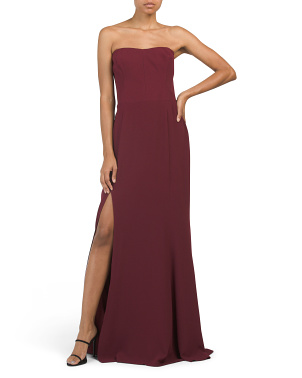 Ellen Strapless Gown With Slit