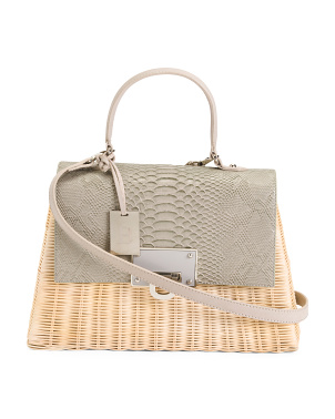 Made In Italy Python Print Straw Satchel