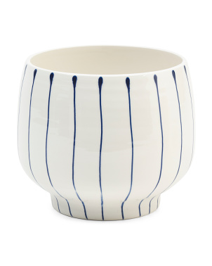Made In Portugal Striped Footed Ceramic Planter