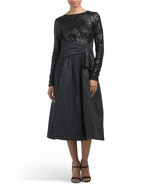 Geometric Sequin Bodice And Taffeta Skirt Dress